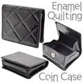 エナメルコインケース キルティング ブラック 財布 デコレーション部材