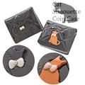 【ファッション 雑貨】ネコプレートコインケース 2色 エナメル ブラック キルティング 財布