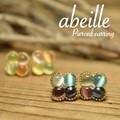 再入荷【abeille】4丸フラワーマルチカラー キャッツアイピアス!2色展開 フェミニン **