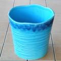 ポルトガル製 陶器 鉢カバー《底穴ナシ》 アンティーク風 エメラルドブルー 青 ボーダー 横縞 24cm 7号