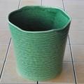 ポルトガル製 陶器 鉢カバー《底穴ナシ》 アンティーク風 グリーン 緑 ボーダー 横縞 24cm 7号