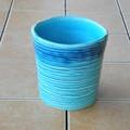 ポルトガル製 陶器 鉢カバー《底穴ナシ》 アンティーク風 エメラルドブルー 青 ボーダー 横縞 13cm ミニ