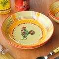 【ポルトガル製】 丸皿 幸せを呼ぶ ニワトリ柄(チキン) 手描き パスタ皿  ボウル 陶器製 (20cm)