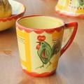 【ポルトガル製】手描き 幸せを呼ぶ ニワトリ柄(チキン) オレンジ 赤  【コーヒー】 マグカップ  陶器製