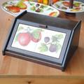 イタリア製 パンボックス キッチン収納 フルーツ柄 ポーセラーツ 木製 スパイスラック