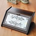 イタリア製 パンボックス キッチン収納 ブラックオリーブ柄 ポーセラーツ 木製 スパイスラック