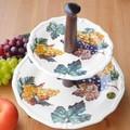 イタリア製 アフタヌーンティースタンド  ケーキスタンド グレープ柄  陶器製 デザートスタンド