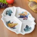 イタリア製 パーティプレート 前菜皿 仕切り付 グレープ柄 アンティパストプレート 陶器製 食器