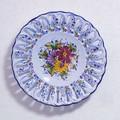 ポルトガル製 アルコバッサ 飾り皿 花柄 プレート ブルー ハンドペイント 絵皿 30cm 壁掛け
