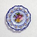 ポルトガル製 アルコバッサ 飾り皿 花柄 プレート ブルー ハンドペイント 絵皿 19cm 壁掛け
