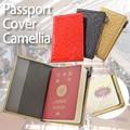 【旅行 パスポート】パスポートケース エナメルカメリア 赤 黒 レディース カバー ホルダー 母の日
