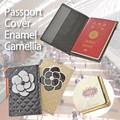 【旅行 パスポート】パスポートケース キルト エナメルカメリア付 シンプル カバー ホルダー 母の日