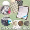 【ゴルフ用品】ゴルフスコアホルダー チェック ブラウン 黒 白 スポーツ レディース メンズ 市松模様