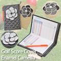 【ゴルフ用品】ゴルフスコアホルダー キルト エナメルカメリア付 シンプル 黒 ベージュ カバー 母の日
