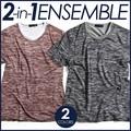 T/C天竺クルーネックアンサンブル 重ね着 半袖Tシャツ トップス インナー カジュアルスタイル ク