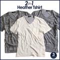 ボーダー天竺Vネックアンサンブル 2枚組 Tシャツ 半袖Tシャツ カットソー レイヤード トップス