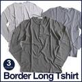 3BヘンリーロングTシャツ ボーダー キレイめ ロンT Tシャツ メンズ 長袖Tシャツ カットソー