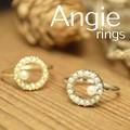 **NEW【Angie】2色展開。サークル パール粒つぶ リング!シンプル&フェミニン!**