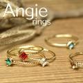 再入荷。【Angie】5色展開。スクエア カラークリスタルリング!シンプル&フェミニン**