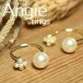 再入荷。【Angie】2色展開。パール&フラワー ツイン リング!シンプル&フェミニン!**