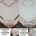トップクロス/テーブルクロス<カットワーク刺繍 ローズ 薔薇>