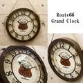 【壁掛時計】アンティークエンボスクロック[Route66 Grand Clock]<アメリカン雑貨>