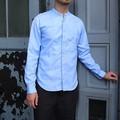 DiscriminationLess スリムフィットスタンドカラーシャツ ブルー
