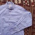 DiscriminationLess ミックスボタンスリムシャツ ブルー
