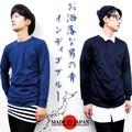 【SALE】40/2 インディゴ天竺 クルーネック 長袖Tシャツ<日本製>