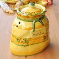 【ポルトガル製】陶器製 野菜ストッカー 手描き 【シエラ・sierra柄】 オレンジ グリーン 野菜保存容器