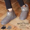 ◆フロントビジューミニ丈フェイクムートンブーツ/靴/雑貨◆420243