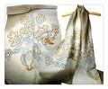 【在庫処分値下げ商品】オリジナルデザインインドハンドメイドアーリ刺繍シルクウールストール IN280