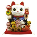 【風水 開運 雑貨】親子招福バンクジャンボ 貯金箱 金運 置物 招き猫 ディスプレイ