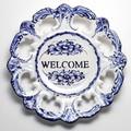 ポルトガル製 アルコバッサ 飾り皿 花柄 プレート ブルー ハンドペイント 絵皿 26cm 壁掛け WELCOME