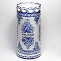 ポルトガル製 陶器 傘立て ハンドペイント レース 花柄 ブルー ホワイト 『WELCOME』 お玄関 おもてなし