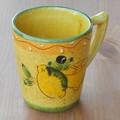 ポルトガル製 陶器 手描き レモン オリーブ柄 食器 マグカップ ギフト プレゼント に