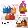 【新作】【ファッション アパレル】バッグインバッグ 5種 カバン ハンドバッグ 赤 シンプル