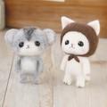 茶色ずきんの白猫とジャンガリアンハムスター【フェルト羊毛】【手作りキット】