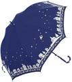 大人気猫柄★婦人長傘【月と猫】60cm★ジャンプ式耐風傘★♪