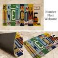 【玄関マット】コイヤーマット[Number Plate Welcome:レクト7465]