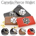 カメリア型押し・エナメルシングルファスナー財布(カメリアピアス) ブラック レッド 母の日