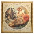 イタリア製 アートフレーム サンダルを履かせる エンジェル 額入り アートポスター スクエア 33cm 額絵