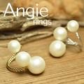 NEW【Angie】2色展開。トリプル ラージ コットンパール リング!シンプル&フェミニン!**