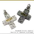 【シルバー925】日本の匠 彫金細工シルバーペンダント クラフトマン ハンドメイド 正十字クロスL