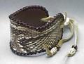 蛇革レザーブレスレット(パイソン革/コブラ革)本革使用の本格派 ハンドメイド フロントワイド フリー