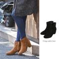 ◆トレンドと履きやすさ。フリンジ付スエードタッチショートブーツ◆421436