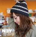 ◆ざっくり編みボーダー柄ニット帽/帽子/小物/雑貨/ビーニー/キャップ◆421496