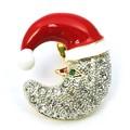 クリスマス商材☆キラキラピンブローチ タックピン☆サンタ帽をかぶったお月様 サンタムーン