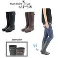 ☆モンフレールのレインブーツ/防水/台風/梅雨/長靴/ファッションレイン/ロング