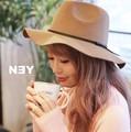 ◆フェイクレザーリボン付中折れツバ広ハット/帽子/小物/雑貨◆421558